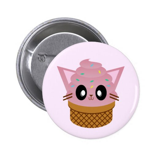 kawaii kitty cone ice cream cat meow buttons