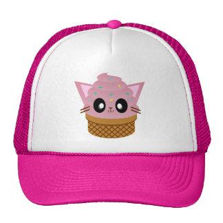 kawaii kitty cone ice cream cat meow trucker hat