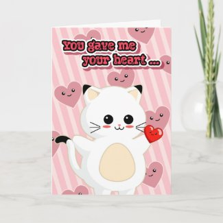 Kawaii Kitty Creepy Cute Valentine's Day Card