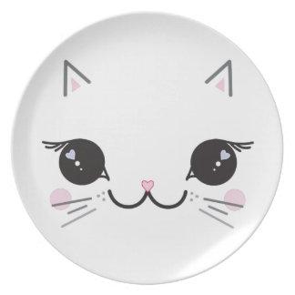 Kawaii kitty dinner plate