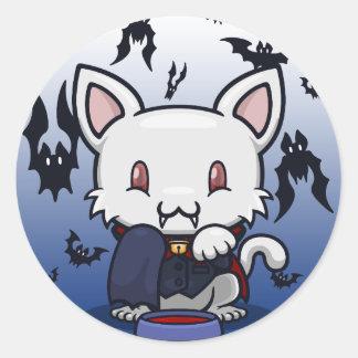 Kawaii Kitty (Dracula) Classic Round Sticker