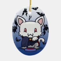 Kawaii Kitty (Dracula) Oval Ceramic Ornament