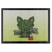Kawaii Kitty (Frankenstein's Monster) Cutting Board