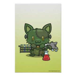 Kawaii Kitty (Frankenstein's Monster) Poster