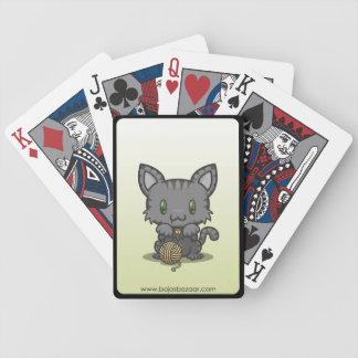 Kawaii Kitty (Gray Striped) Bicycle Playing Cards