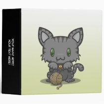 """Kawaii Kitty (Gray Striped) 2"""" Binder"""