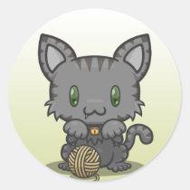 Kawaii Kitty (Gray Striped) Sticker Sheet