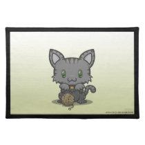 Kawaii Kitty (Gray Striped) Placemat