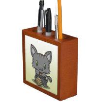 Kawaii Kitty (Gray Striped) Desk Organizer