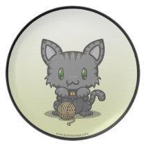 Kawaii Kitty (Gray Striped) Plate