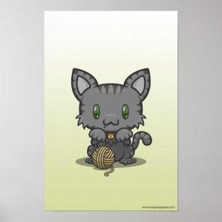 Kawaii Kitty (Gray Striped) Poster