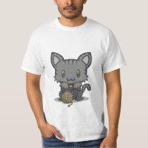 Kawaii Kitty (Gray Striped) T-Shirt