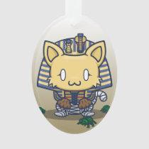 Kawaii Kitty (Mummy) Oval Acrylic Ornament