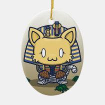 Kawaii Kitty (Mummy) Oval Ceramic Ornament