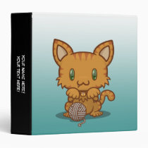 "Kawaii Kitty (Orange Striped) 1.5"" Binder"