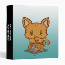"Kawaii Kitty (Orange Striped) 1"" Binder"
