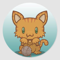 Kawaii Kitty (Orange Striped) Sticker Sheet