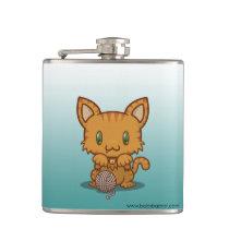 Kawaii Kitty (Orange Striped) Flask