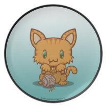 Kawaii Kitty (Orange Striped) Plate