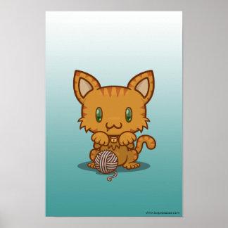 Kawaii Kitty (Orange Striped) Poster