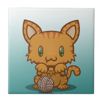 Kawaii Kitty (Orange Striped) Ceramic Tile