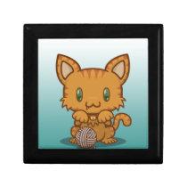 Kawaii Kitty (Orange Striped) Hinged Gift Box