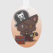 Kawaii Kitty (Pirate) Oval Acrylic Ornament