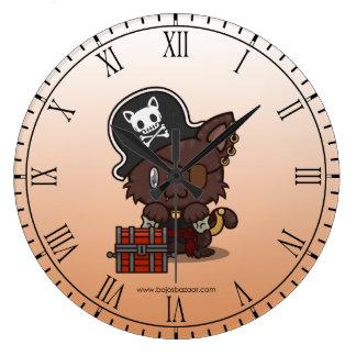 Kawaii Kitty (Pirate) Wall Clocks