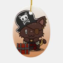 Kawaii Kitty (Pirate) Oval Ceramic Ornament