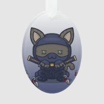 Kawaii Kitty (Shinobi) Oval Acrylic Ornament
