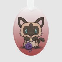 Kawaii Kitty (Siamese) Oval Acrylic Ornament