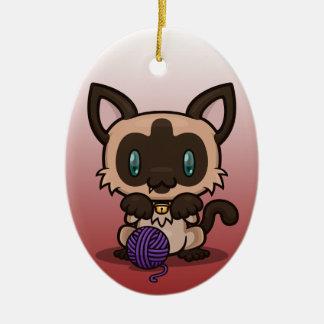 Kawaii Kitty (Siamese) Ceramic Ornament