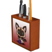 Kawaii Kitty (Siamese) Desk Organizer
