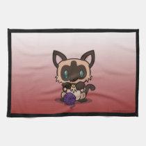 Kawaii Kitty (Siamese) Kitchen Towels (3x)