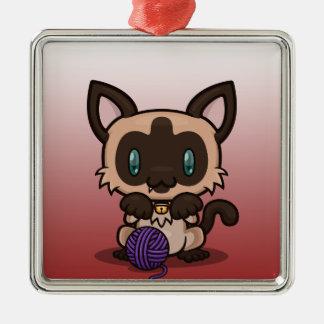 Kawaii Kitty (Siamese) Metal Ornament