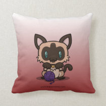 Kawaii Kitty (Siamese) Pillow