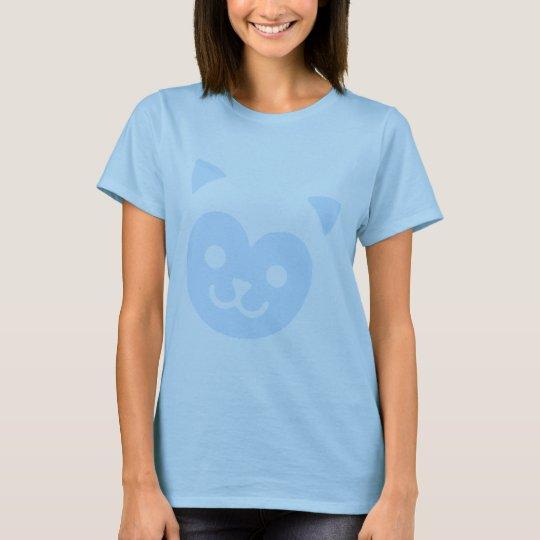 Kawaii Kitty Smile Face Blue T-Shirt