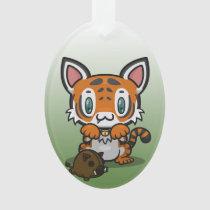 Kawaii Kitty (Tiger) Oval Acrylic Ornament