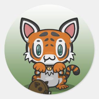 Kawaii Kitty (Tiger) Classic Round Sticker
