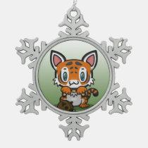 Kawaii Kitty (Tiger) Pewter Snowflake Ornament