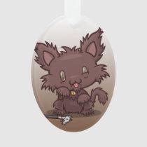 Kawaii Kitty (Werewolf) Oval Acrylic Ornament