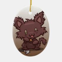 Kawaii Kitty (Werewolf) Oval Ceramic Ornament