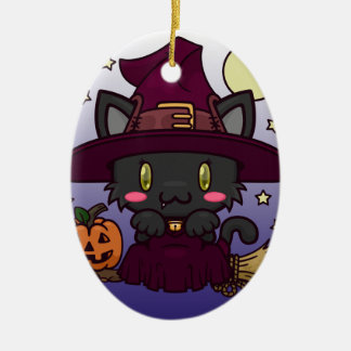 Kawaii Kitty (Witch) Ceramic Ornament
