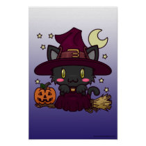 Kawaii Kitty (Witch) Poster