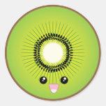 Kawaii Kiwi Classic Round Sticker