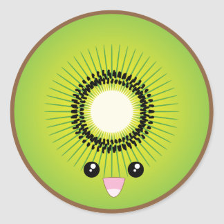 Kawaii Kiwi Classic Round Sticker