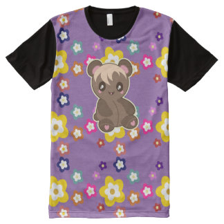 Kawaii Koala Bear and Flower Power Tshirt purple