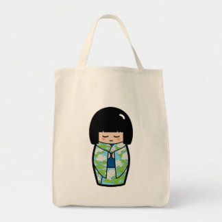 Kawaii Kokeshi (Blue) Japanese Doll Tote Bag
