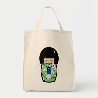 Kawaii Kokeshi (Blue) Japanese Doll Tote Bag