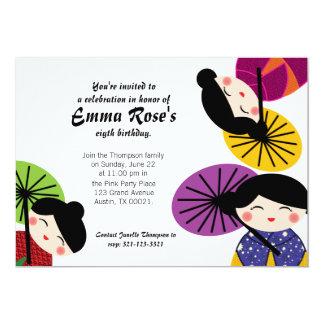 Kawaii Kokeshi Doll BIRTHDAY PARTY Invitation